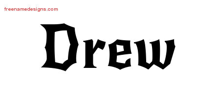 Gothic Name Tattoo Designs Drew Free Graphic