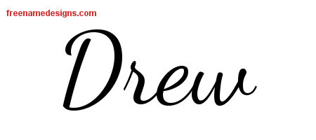 Lively Script Name Tattoo Designs Drew Free Printout