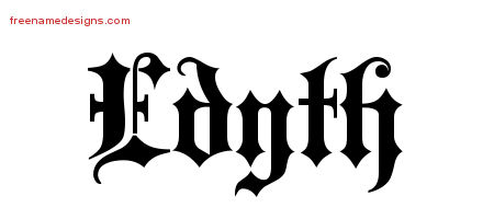 Old English Name Tattoo Designs Edyth Free