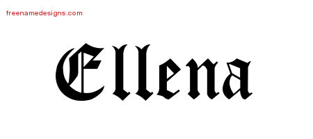 Blackletter Name Tattoo Designs Ellena Graphic Download