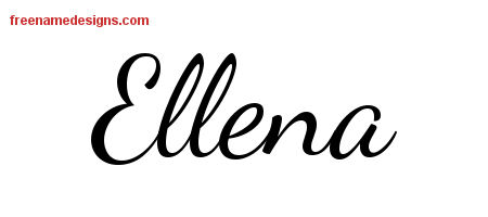 Lively Script Name Tattoo Designs Ellena Free Printout