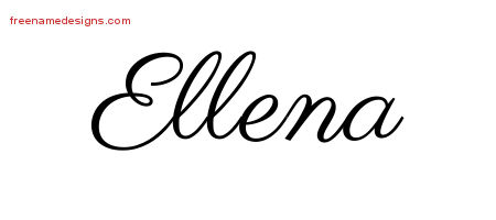 Classic Name Tattoo Designs Ellena Graphic Download