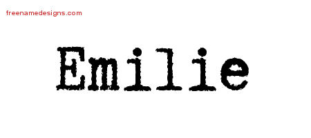 Typewriter Name Tattoo Designs Emilie Free Download
