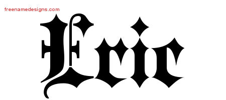 Old English Name Tattoo Designs Eric Free Lettering