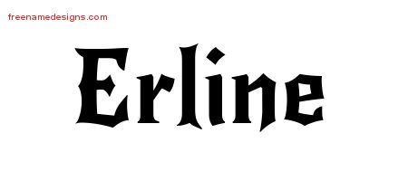 Gothic Name Tattoo Designs Erline Free Graphic