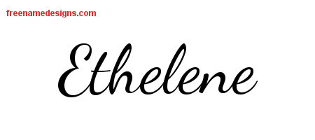 Lively Script Name Tattoo Designs Ethelene Free Printout