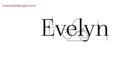 Decorated Name Tattoo Designs Evelyn Free