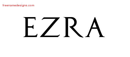 Regal Victorian Name Tattoo Designs Ezra Printable
