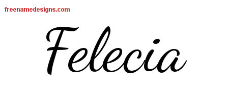 Lively Script Name Tattoo Designs Felecia Free Printout