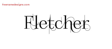 Decorated Name Tattoo Designs Fletcher Free Lettering