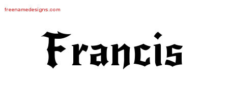 Gothic Name Tattoo Designs Francis Free Graphic