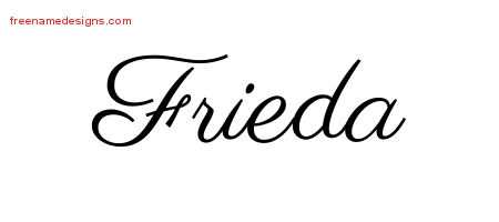Classic Name Tattoo Designs Frieda Graphic Download