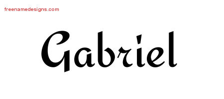 Calligraphic Stylish Name Tattoo Designs Gabriel Free Graphic