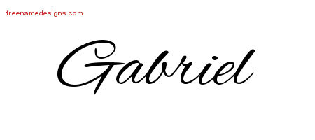 Cursive Name Tattoo Designs Gabriel Free Graphic