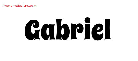 Groovy Name Tattoo Designs Gabriel Free Lettering
