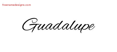 Cursive Name Tattoo Designs Guadalupe Free Graphic