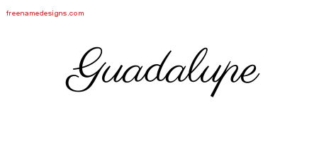 Classic Name Tattoo Designs Guadalupe Printable