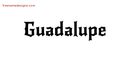 Gothic Name Tattoo Designs Guadalupe Free Graphic