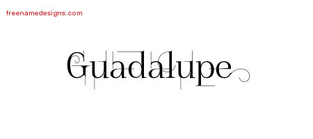 Decorated Name Tattoo Designs Guadalupe Free Lettering