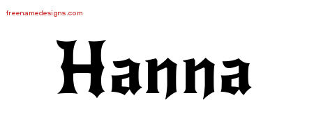 Gothic Name Tattoo Designs Hanna Free Graphic