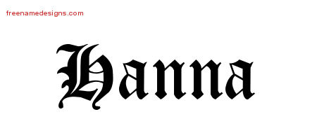 Blackletter Name Tattoo Designs Hanna Graphic Download
