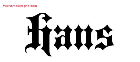 Old English Name Tattoo Designs Hans Free Lettering Free