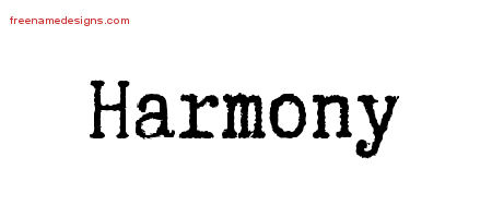 Typewriter Name Tattoo Designs Harmony Free Download