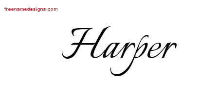 Calligraphic Name Tattoo Designs Harper Free Graphic