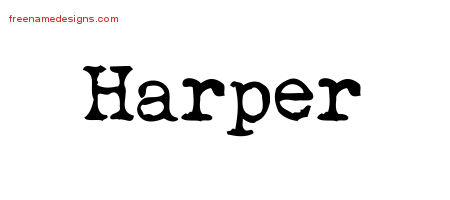 Vintage Writer Name Tattoo Designs Harper Free Lettering