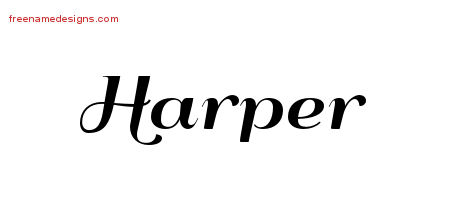 Art Deco Name Tattoo Designs Harper Graphic Download