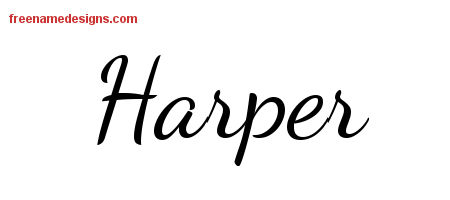 Lively Script Name Tattoo Designs Harper Free Download