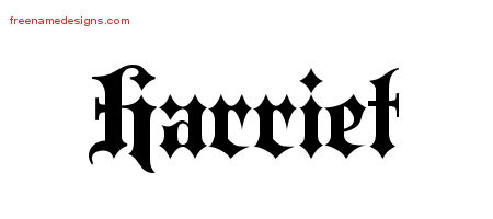 Old English Name Tattoo Designs Harriet Free