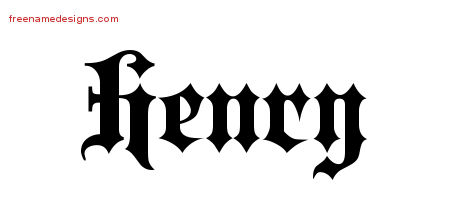 Old English Name Tattoo Designs Henry Free Lettering