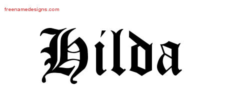 Blackletter Name Tattoo Designs Hilda Graphic Download