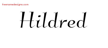 Elegant Name Tattoo Designs Hildred Free Graphic
