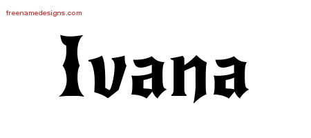 Gothic Name Tattoo Designs Ivana Free Graphic