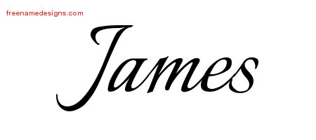 Calligraphic Name Tattoo Designs James Free Graphic