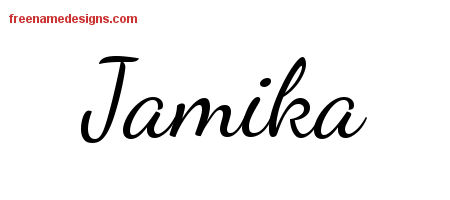 Lively Script Name Tattoo Designs Jamika Free Printout