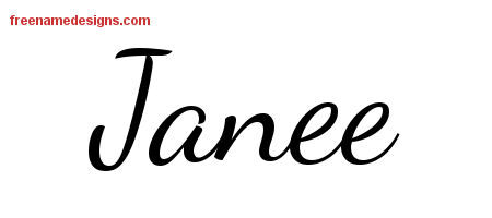 Lively Script Name Tattoo Designs Janee Free Printout