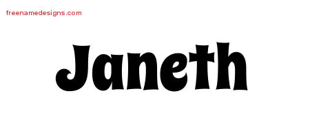 Groovy Name Tattoo Designs Janeth Free Lettering
