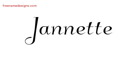 Elegant Name Tattoo Designs Jannette Free Graphic