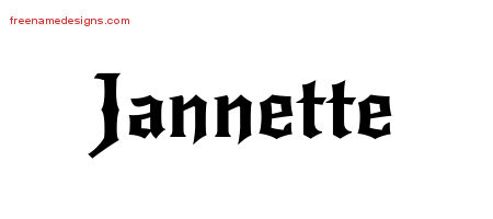 Gothic Name Tattoo Designs Jannette Free Graphic