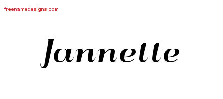 Art Deco Name Tattoo Designs Jannette Printable