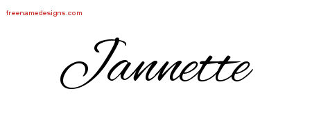 Cursive Name Tattoo Designs Jannette Download Free