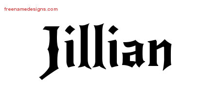 Gothic Name Tattoo Designs Jillian Free Graphic
