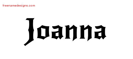 Gothic Name Tattoo Designs Joanna Free Graphic
