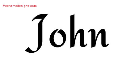 Calligraphic Stylish Name Tattoo Designs John Free Graphic