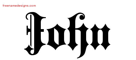 Old English Name Tattoo Designs John Free Lettering