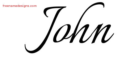 Calligraphic Name Tattoo Designs John Free Graphic