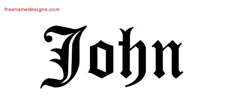 Blackletter Name Tattoo Designs John Printable